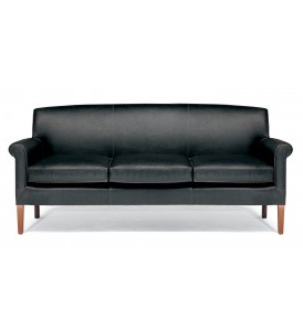 black leather reception sofa